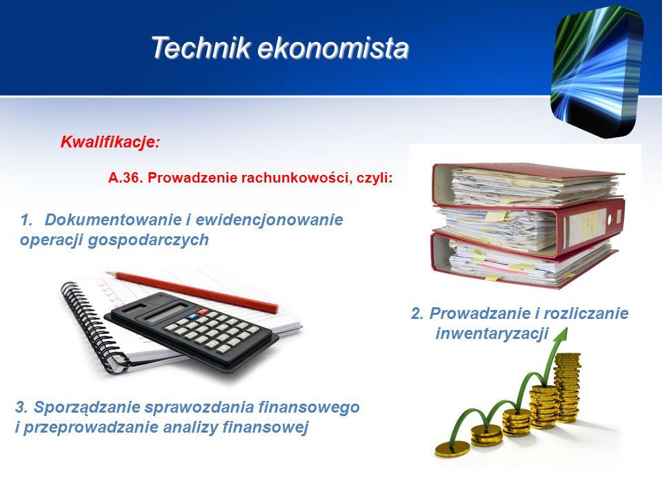Technik ekonomista A.36. Prowadzenie rachunkowości, czyli: Kwalifikacje: 2.