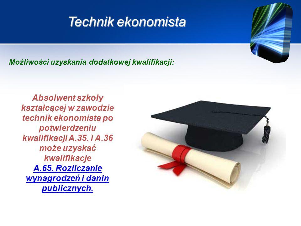 Technik ekonomista Absolwent szkoły kształcącej w zawodzie technik ekonomista po potwierdzeniu kwalifikacji A.35.