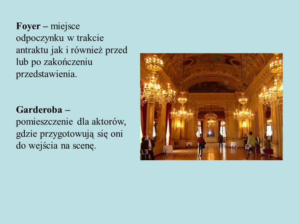 Foyer – miejsce odpoczynku w trakcie antraktu jak i również przed lub po zakończeniu przedstawienia. Garderoba – pomieszczenie dla aktorów, gdzie przy