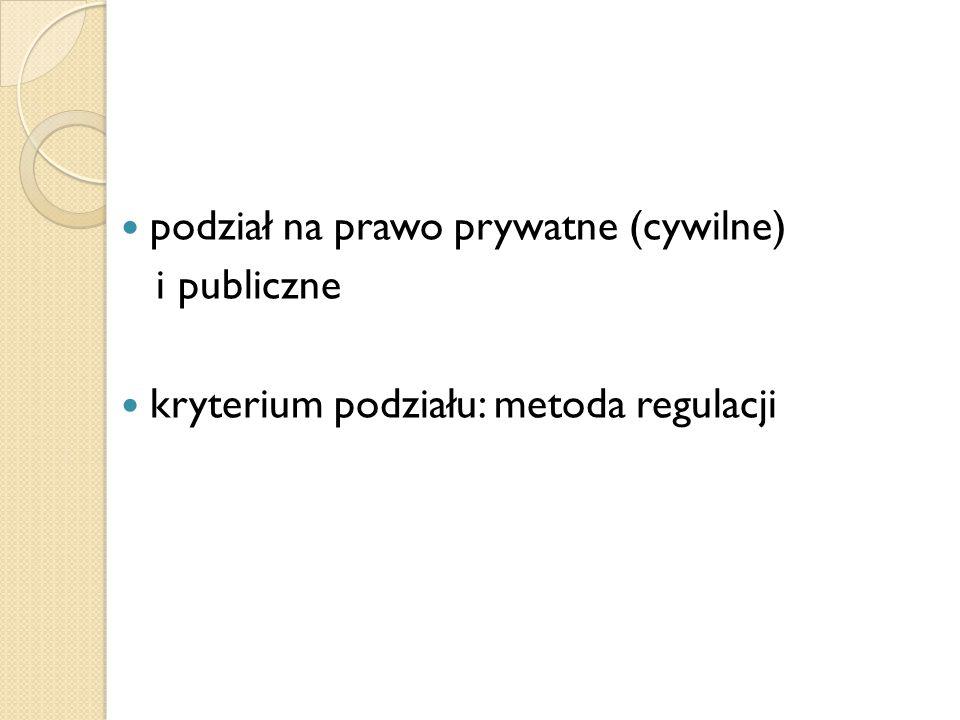 podział na prawo prywatne (cywilne) i publiczne kryterium podziału: metoda regulacji