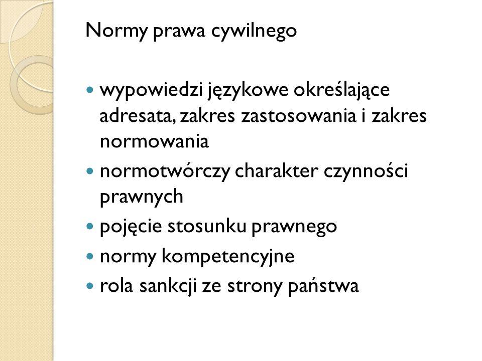 Normy prawa cywilnego wypowiedzi językowe określające adresata, zakres zastosowania i zakres normowania normotwórczy charakter czynności prawnych poję
