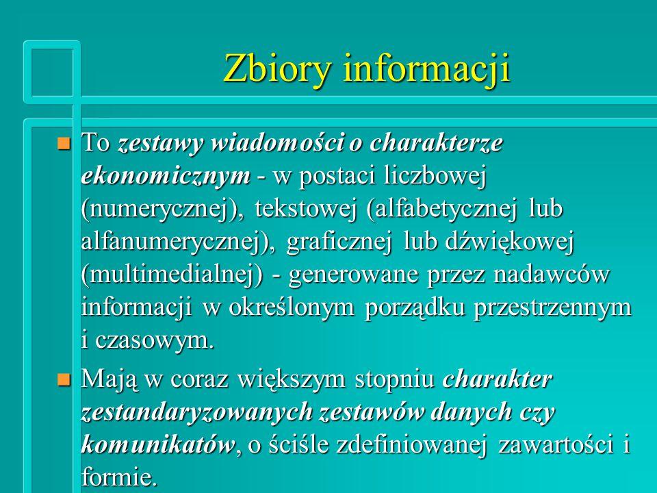 Podstawowe rodzaje zbiorów informacji