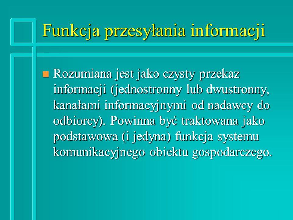 Funkcja przesyłania informacji n Rozumiana jest jako czysty przekaz informacji (jednostronny lub dwustronny, kanałami informacyjnymi od nadawcy do odbiorcy).