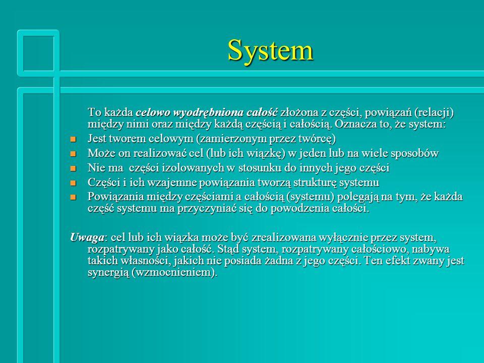 System To każda celowo wyodrębniona całość złożona z części, powiązań (relacji) między nimi oraz między każdą częścią i całością.