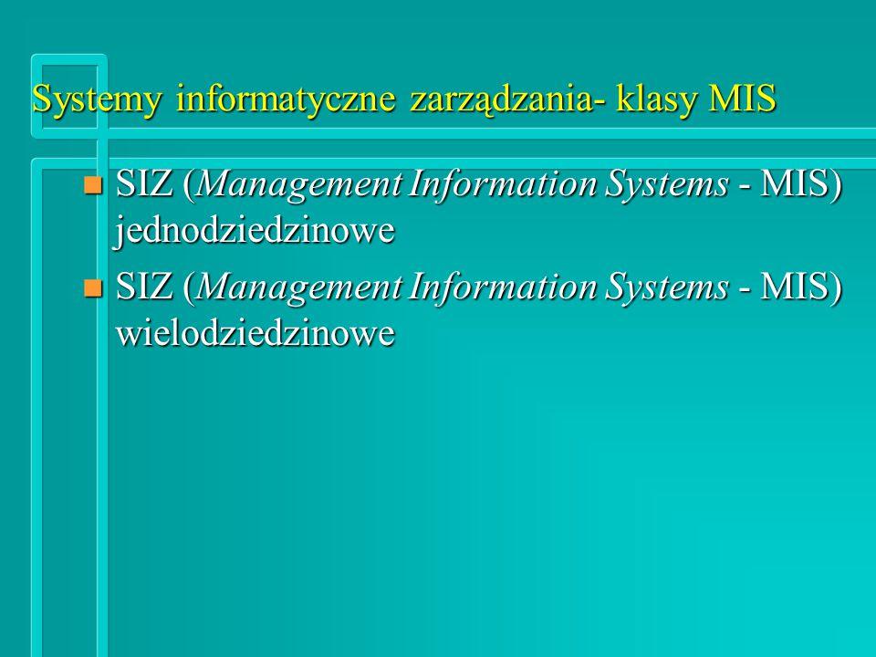 Systemy informatyczne zarządzania- klasy MIS n SIZ (Management Information Systems - MIS) jednodziedzinowe SIZ (Management Information Systems - MIS) wielodziedzinowe SIZ (Management Information Systems - MIS) wielodziedzinowe
