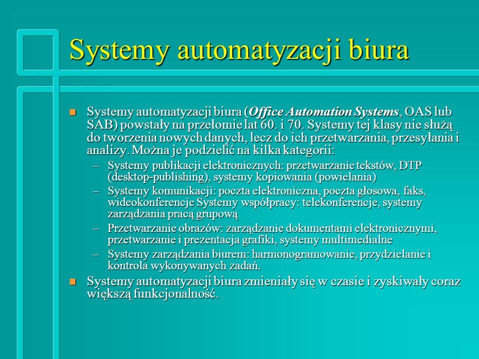 Systemy automatyzacji biura n Systemy automatyzacji biura (Office Automation Systems, OAS lub SAB) powstały na przełomie lat 60.