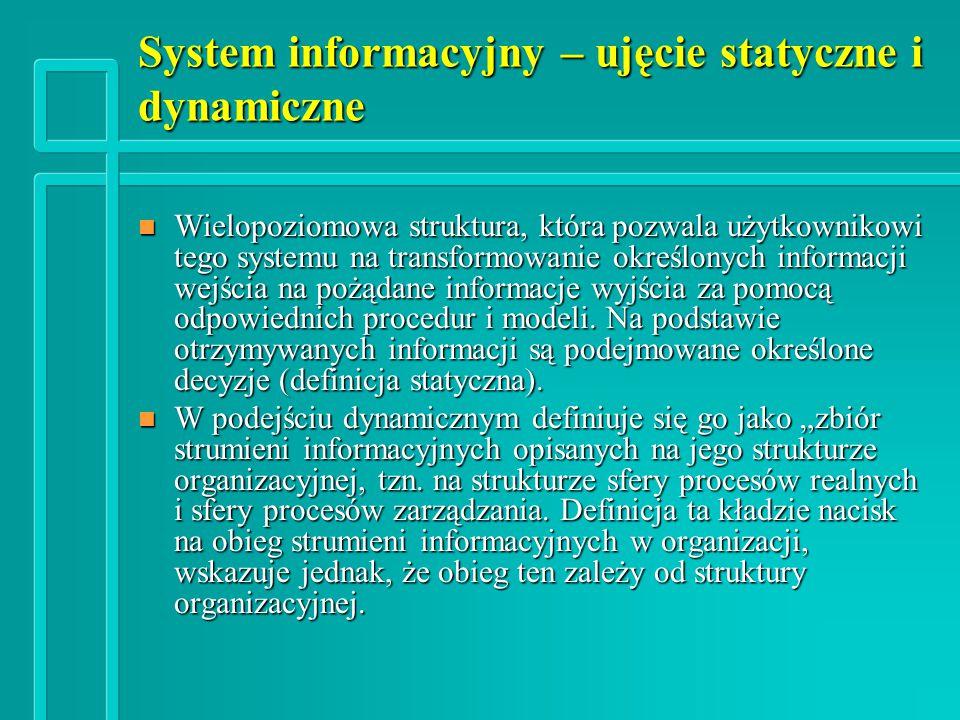 System informacyjny – ujęcie statyczne i dynamiczne n Wielopoziomowa struktura, która pozwala użytkownikowi tego systemu na transformowanie określonych informacji wejścia na pożądane informacje wyjścia za pomocą odpowiednich procedur i modeli.
