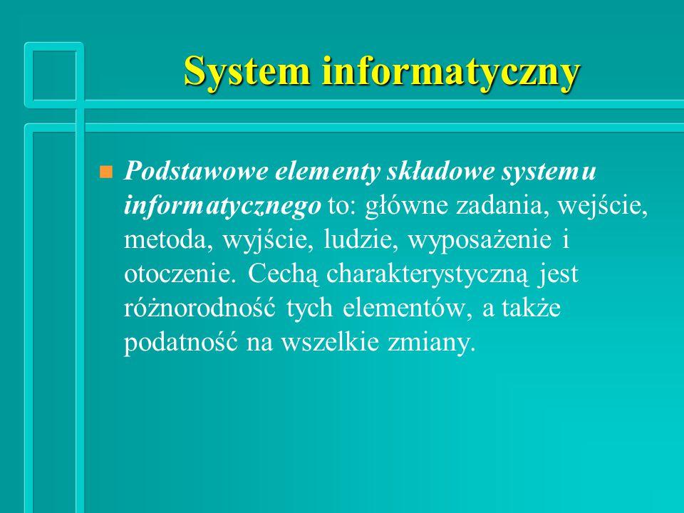 System informatyczny n n Podstawowe elementy składowe systemu informatycznego to: główne zadania, wejście, metoda, wyjście, ludzie, wyposażenie i otoczenie.
