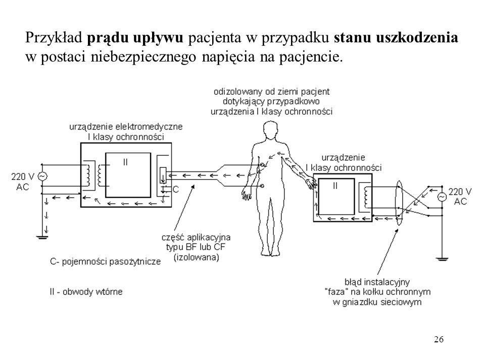 26 Przykład prądu upływu pacjenta w przypadku stanu uszkodzenia w postaci niebezpiecznego napięcia na pacjencie.