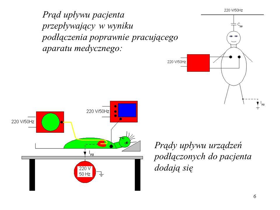 37 Wartości progowe odczuć człowieka podczas przepływu prądu: Rodzaj prądu [mA] StałyZmienny (50 ÷ 60 Hz) Kobiety3.50.7 Mężczyźni5.21.7