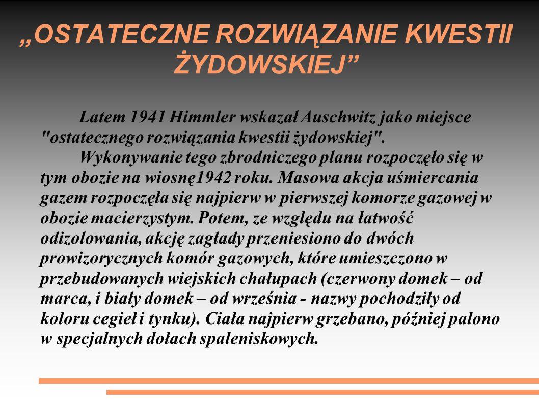 """""""OSTATECZNE ROZWIĄZANIE KWESTII ŻYDOWSKIEJ"""" Latem 1941 Himmler wskazał Auschwitz jako miejsce"""