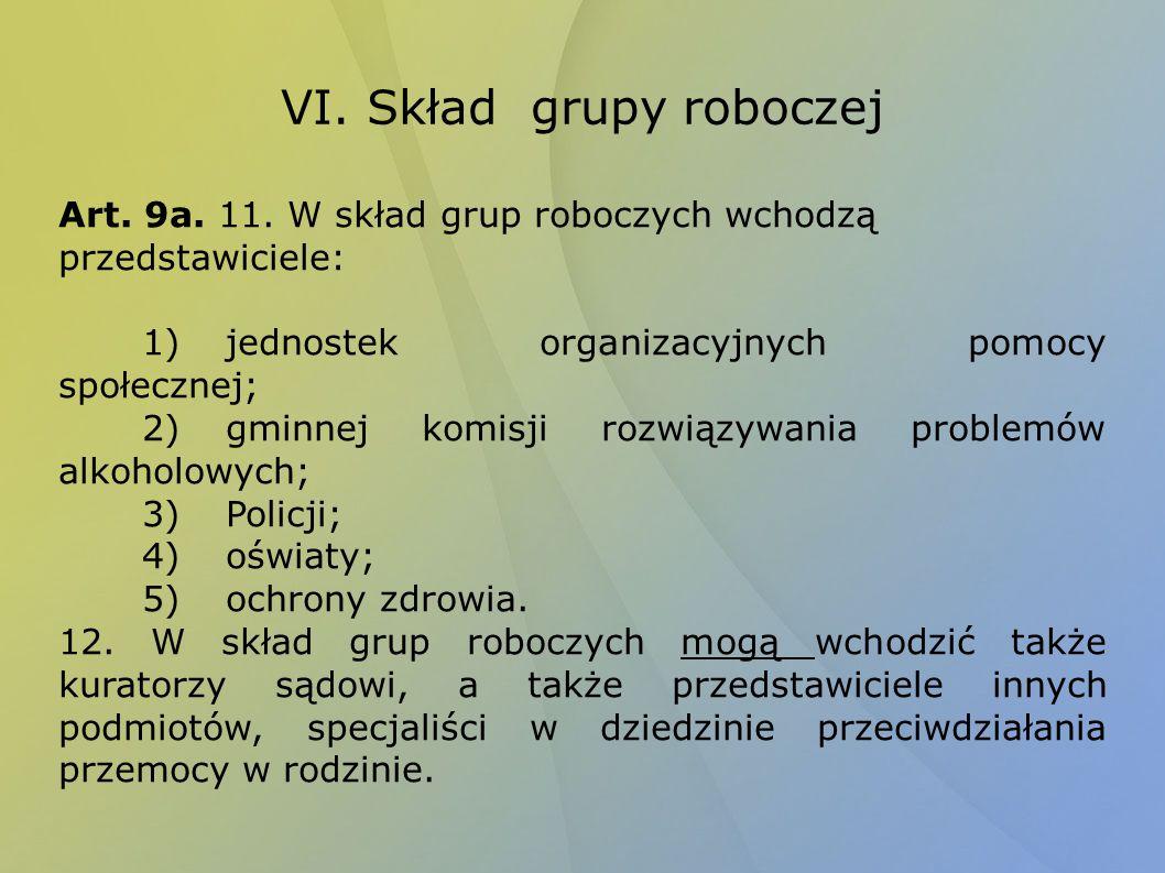 VI. Skład grupy roboczej Art. 9a. 11. W skład grup roboczych wchodzą przedstawiciele: 1)jednostek organizacyjnych pomocy społecznej; 2)gminnej komisji