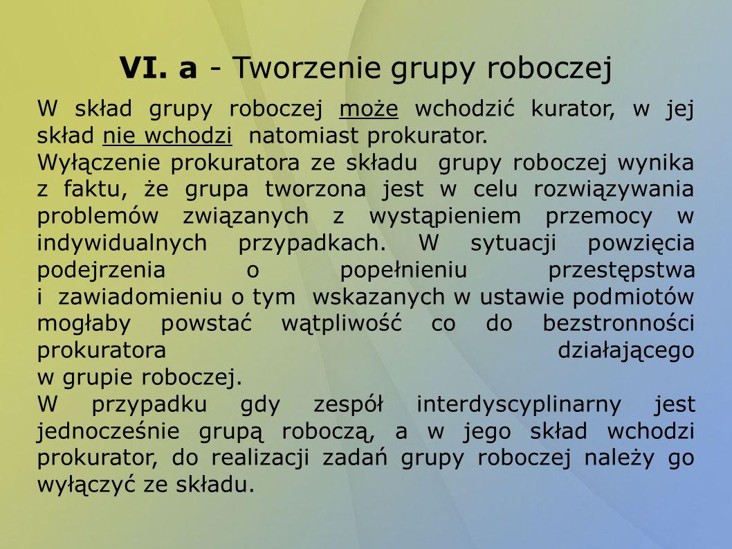 VI. a - Tworzenie grupy roboczej W skład grupy roboczej może wchodzić kurator, w jej skład nie wchodzi natomiast prokurator. Wyłączenie prokuratora ze