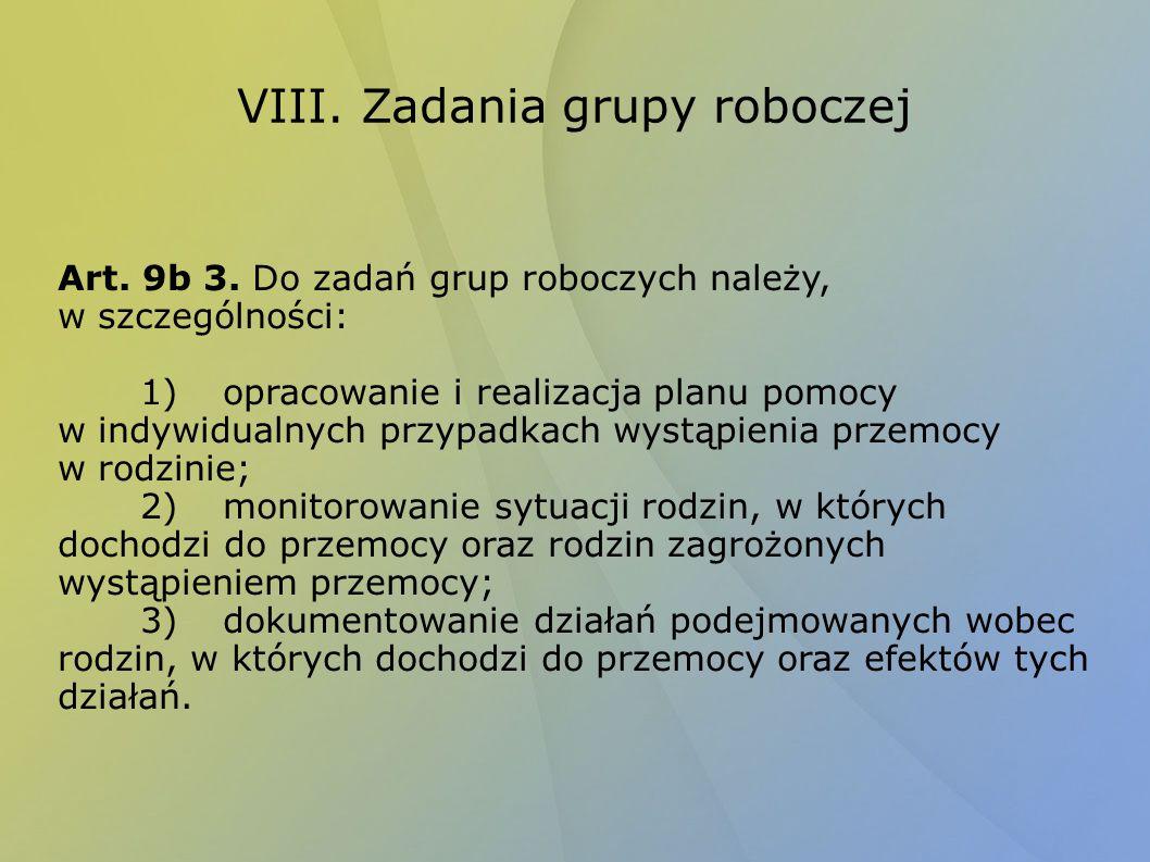 VIII. Zadania grupy roboczej Art. 9b 3. Do zadań grup roboczych należy, w szczególności: 1)opracowanie i realizacja planu pomocy w indywidualnych przy