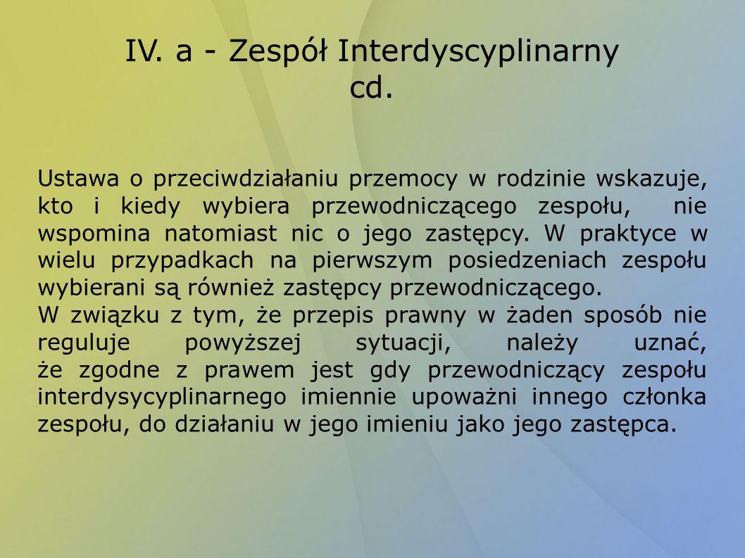 IV. a - Zespół Interdyscyplinarny cd. Ustawa o przeciwdziałaniu przemocy w rodzinie wskazuje, kto i kiedy wybiera przewodniczącego zespołu, nie wspomi