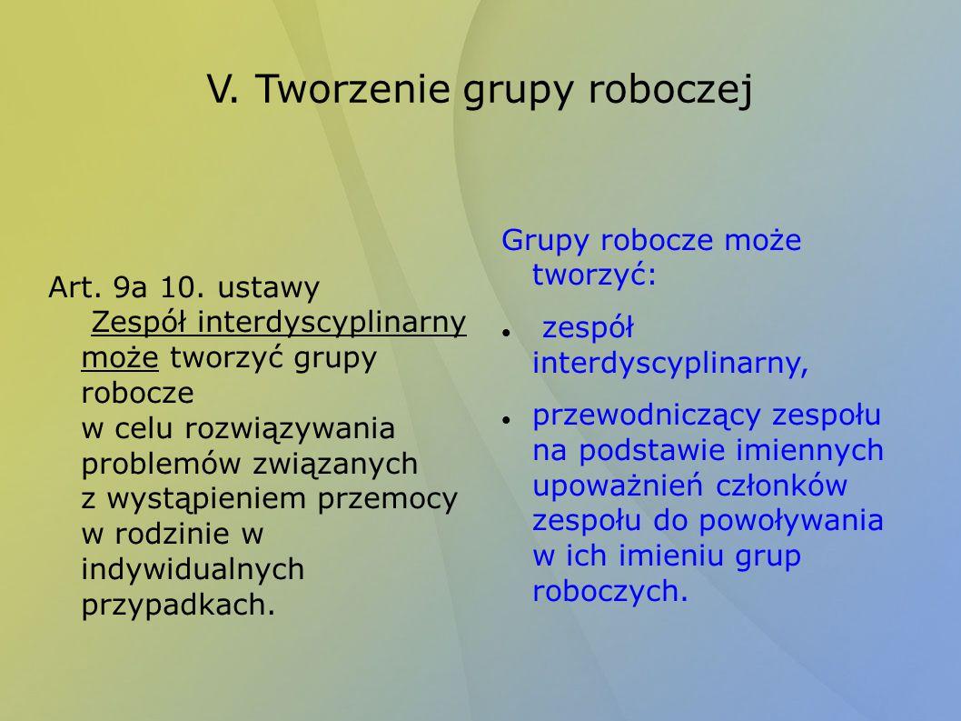 V. Tworzenie grupy roboczej Art. 9a 10. ustawy Zespół interdyscyplinarny może tworzyć grupy robocze w celu rozwiązywania problemów związanych z wystąp
