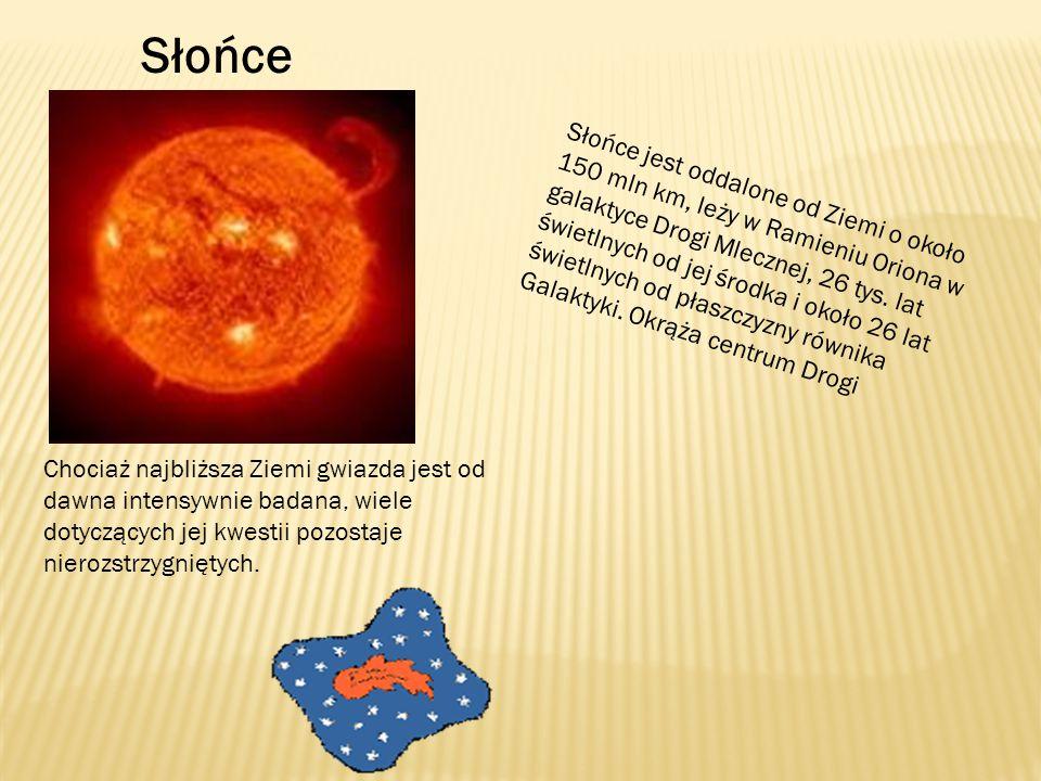 Słońce jest oddalone od Ziemi o około 150 mln km, leży w Ramieniu Oriona w galaktyce Drogi Mlecznej, 26 tys.