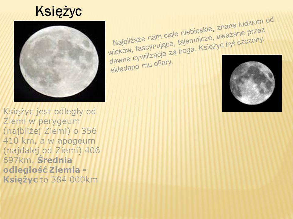 Księżyc Najbliższe nam ciało niebieskie, znane ludziom od wieków, fascynujące, tajemnicze, uważane przez dawne cywilizacje za boga. Księżyc był czczon