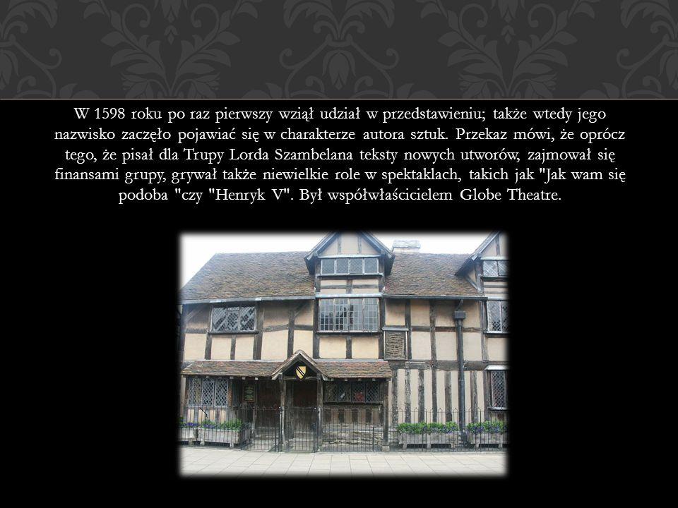W 1598 roku po raz pierwszy wziął udział w przedstawieniu; także wtedy jego nazwisko zaczęło pojawiać się w charakterze autora sztuk. Przekaz mówi, że