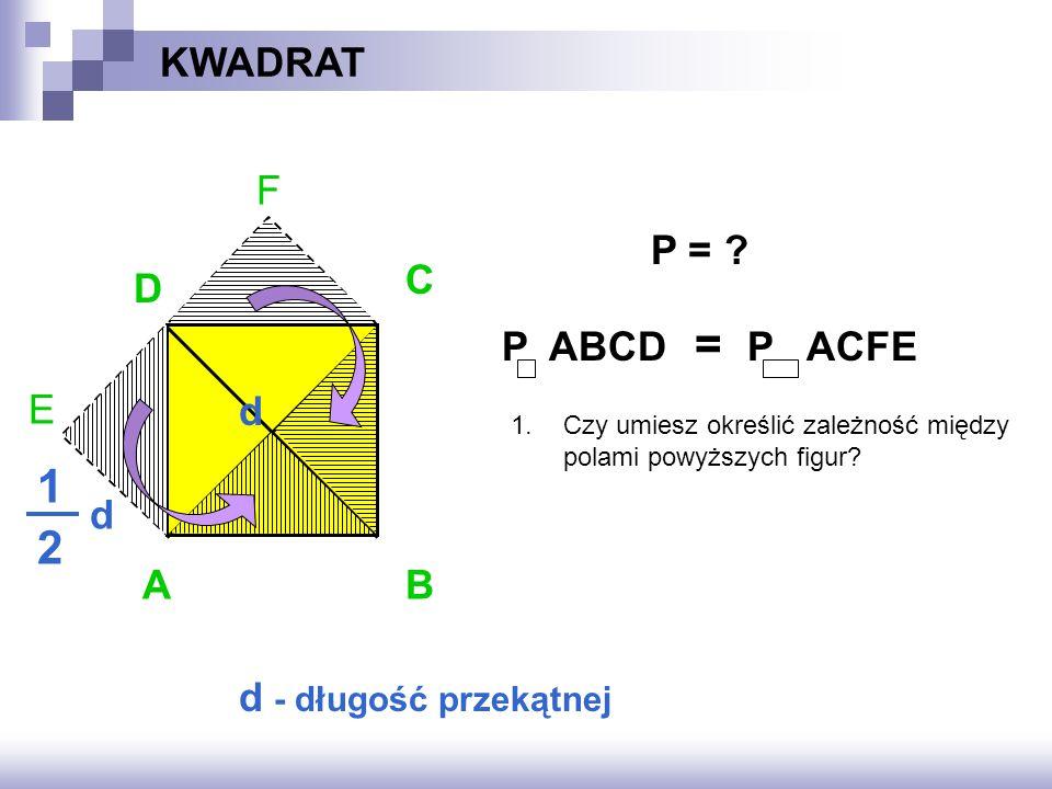 F E KWADRAT AB D C d d 1 2 d - długość przekątnej P = .