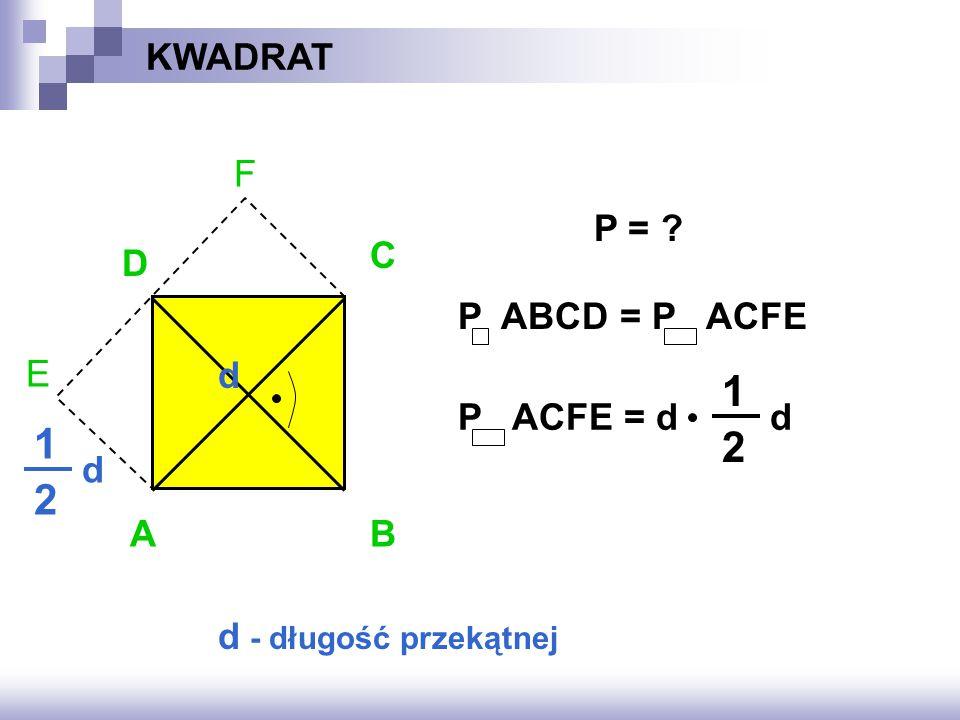 F E KWADRAT AB D C d d 1 2 d - długość przekątnej P = ? P ABCD = P ACFE P ACFE = dd 1 2