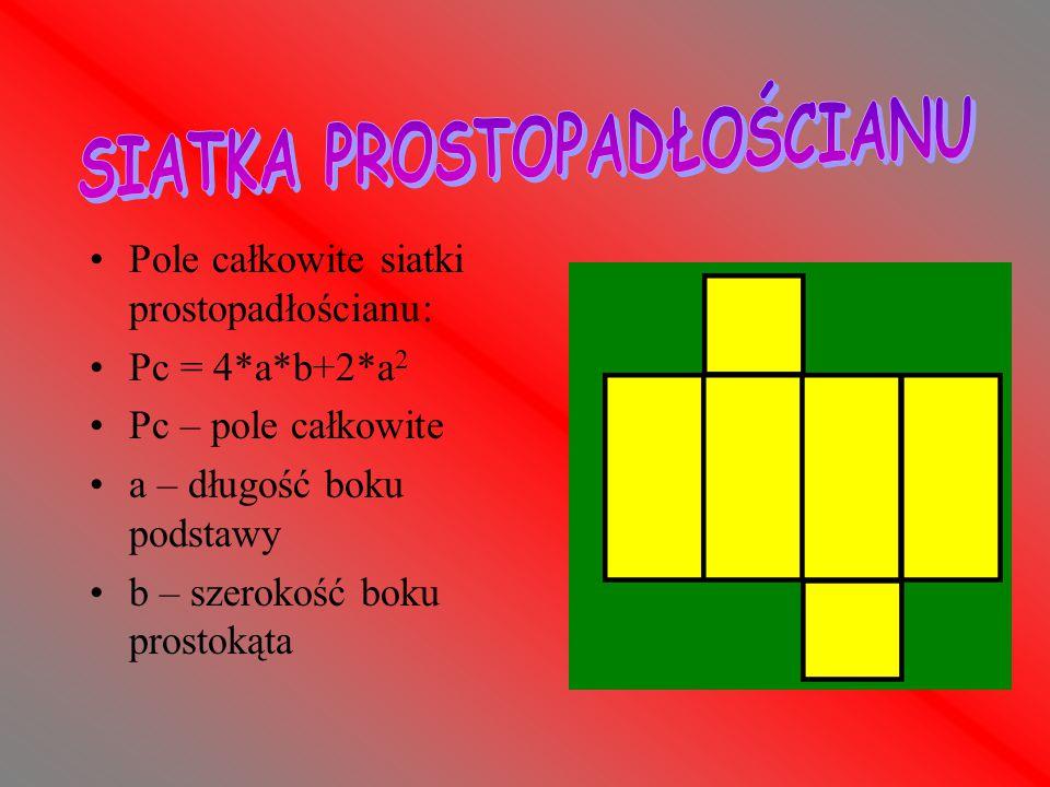 Pole całkowite siatki sześcianu: Pc = 6*a 2 Pc – pole całkowite a – długość boku