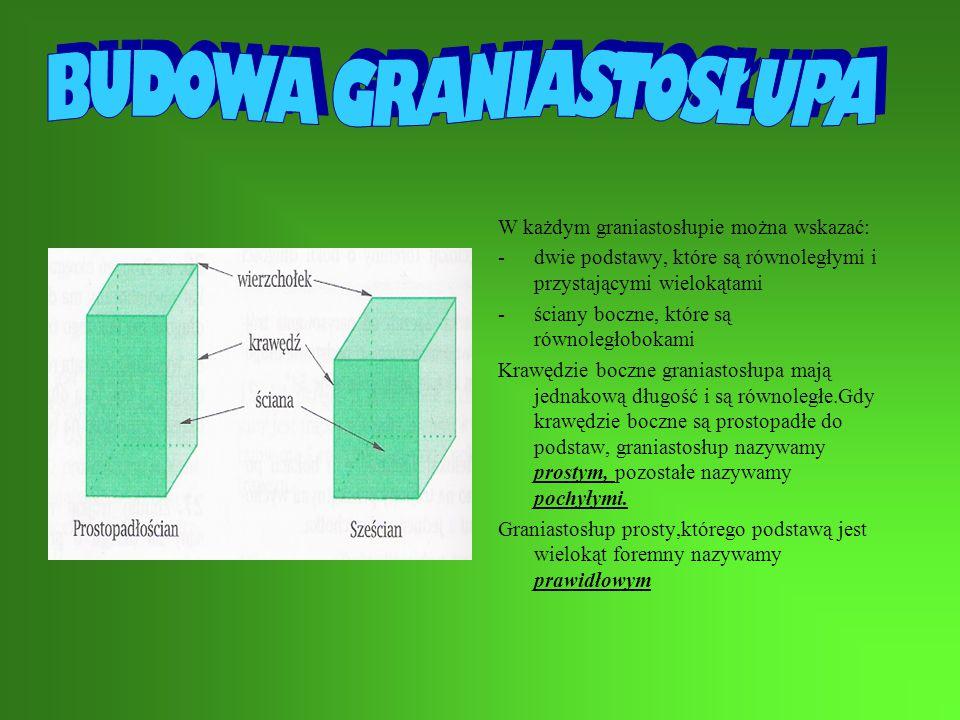 W każdym graniastosłupie można wskazać: -dwie podstawy, które są równoległymi i przystającymi wielokątami -ściany boczne, które są równoległobokami Krawędzie boczne graniastosłupa mają jednakową długość i są równoległe.Gdy krawędzie boczne są prostopadłe do podstaw, graniastosłup nazywamy prostym, pozostałe nazywamy pochyłymi.