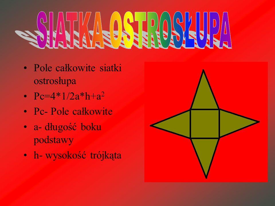 Pole całkowite siatki prostopadłościanu: Pc = 4*a*b+2*a 2 Pc – pole całkowite a – długość boku podstawy b – szerokość boku prostokąta