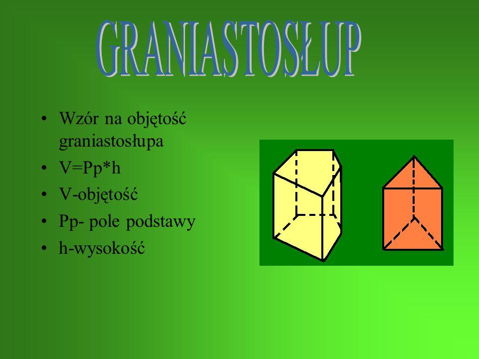 Wzór na objętość graniastosłupa V=Pp*h V-objętość Pp- pole podstawy h-wysokość