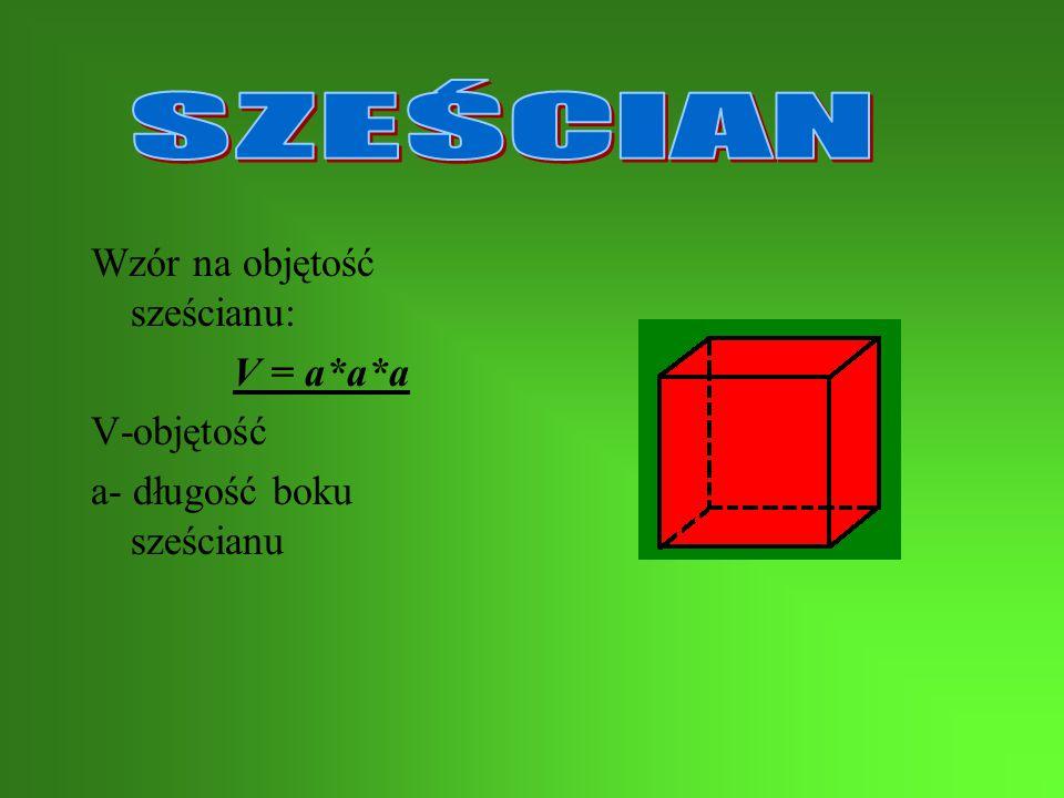 Wzór na objętość: V=a*b*c V-objętość a – długość podstawy b – szerokość podstawy c – wysokość * - znak mnożenia