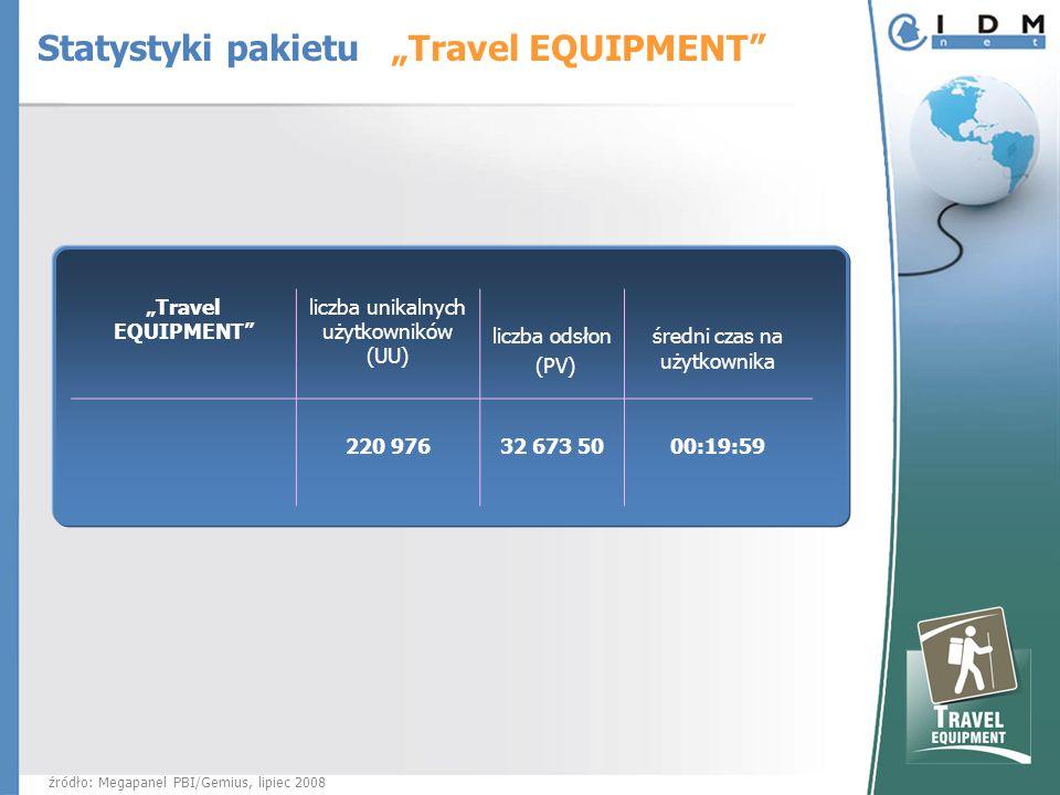 """""""Travel EQUIPMENT liczba unikalnych użytkowników (UU) liczba odsłon (PV) średni czas na użytkownika 220 976 32 673 5000:19:59 źródło: Megapanel PBI/Gemius, lipiec 2008 Statystyki pakietu """"Travel EQUIPMENT"""