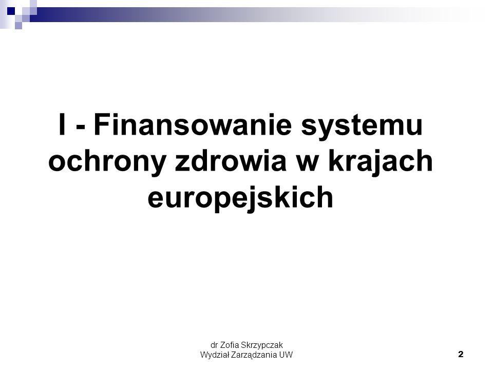 dr Zofia Skrzypczak Wydział Zarządzania UW2 I - Finansowanie systemu ochrony zdrowia w krajach europejskich