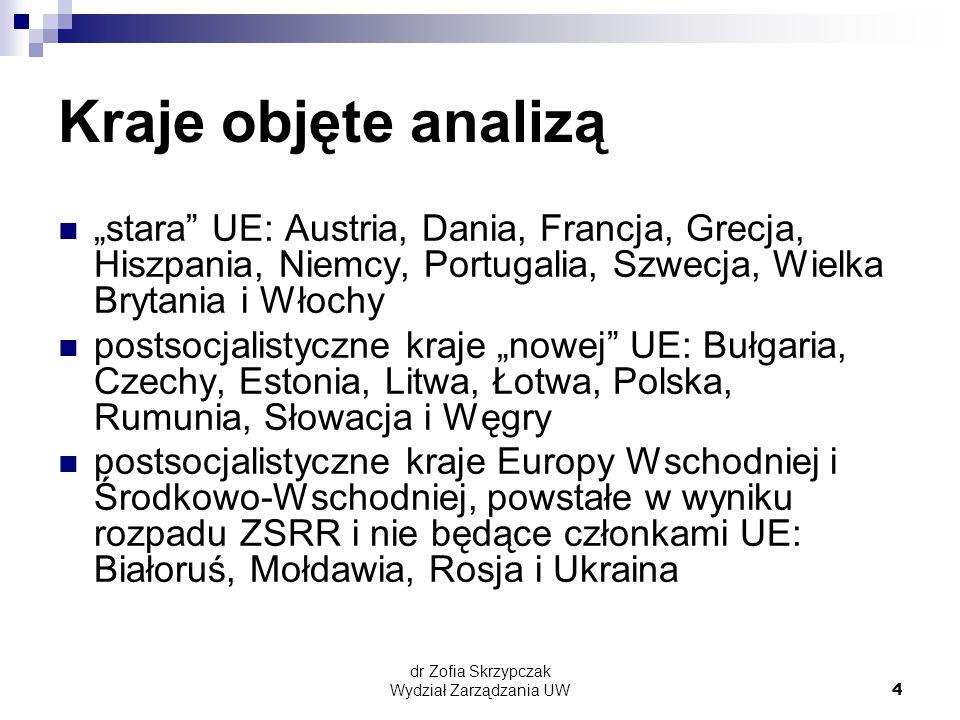 """dr Zofia Skrzypczak Wydział Zarządzania UW4 Kraje objęte analizą """"stara UE: Austria, Dania, Francja, Grecja, Hiszpania, Niemcy, Portugalia, Szwecja, Wielka Brytania i Włochy postsocjalistyczne kraje """"nowej UE: Bułgaria, Czechy, Estonia, Litwa, Łotwa, Polska, Rumunia, Słowacja i Węgry postsocjalistyczne kraje Europy Wschodniej i Środkowo-Wschodniej, powstałe w wyniku rozpadu ZSRR i nie będące członkami UE: Białoruś, Mołdawia, Rosja i Ukraina"""