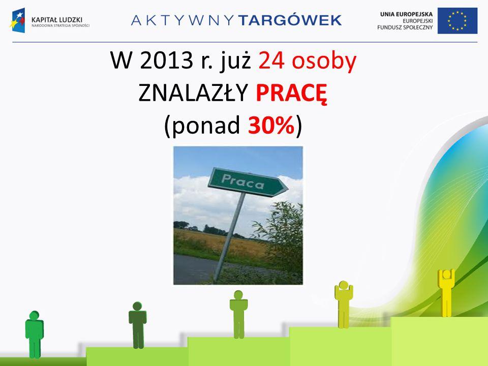 W 2013 r. już 24 osoby ZNALAZŁY PRACĘ (ponad 30%)