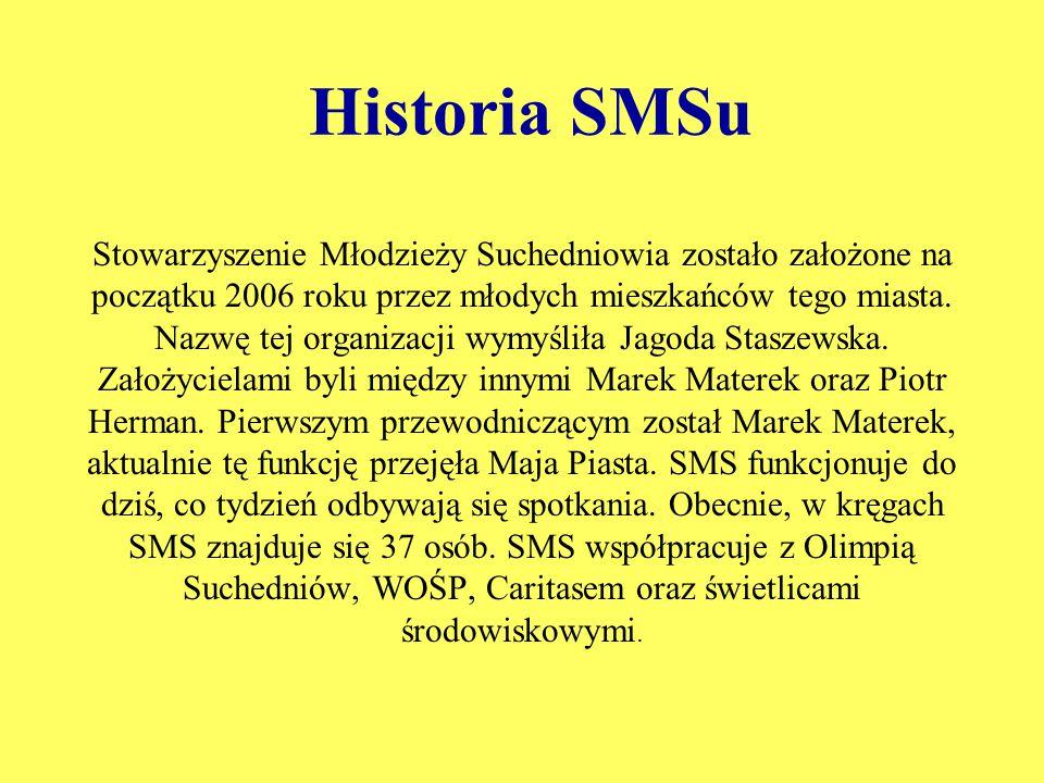 Historia SMSu Stowarzyszenie Młodzieży Suchedniowia zostało założone na początku 2006 roku przez młodych mieszkańców tego miasta. Nazwę tej organizacj