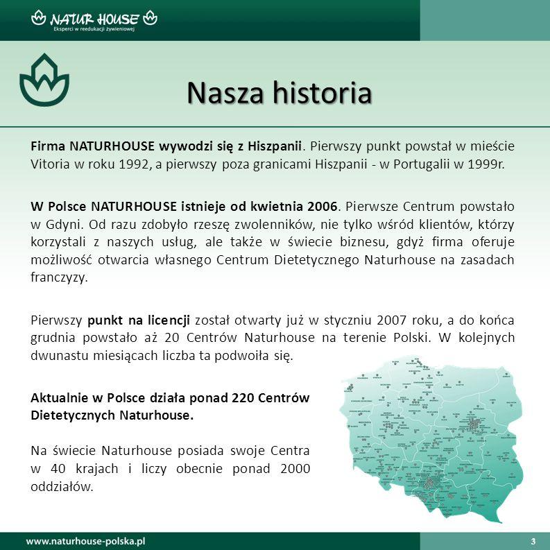 3 Nasza historia Firma NATURHOUSE wywodzi się z Hiszpanii. Pierwszy punkt powstał w mieście Vitoria w roku 1992, a pierwszy poza granicami Hiszpanii -