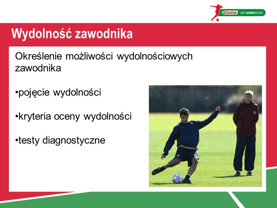 Wydolność zawodnika Określenie możliwości wydolnościowych zawodnika pojęcie wydolności kryteria oceny wydolności testy diagnostyczne