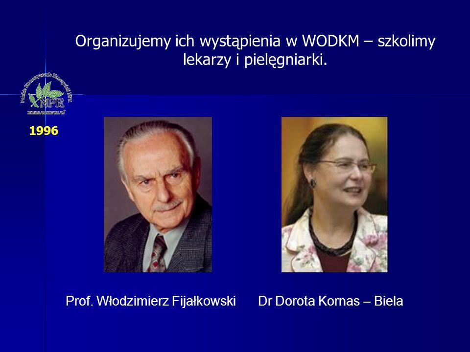 Prof. Włodzimierz FijałkowskiDr Dorota Kornas – Biela Organizujemy ich wystąpienia w WODKM – szkolimy lekarzy i pielęgniarki. 1996