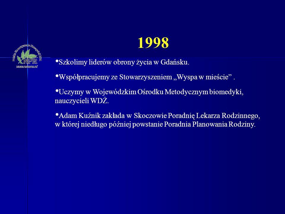 """1998 Szkolimy liderów obrony życia w Gdańsku. Współpracujemy ze Stowarzyszeniem """"Wyspa w mieście"""". Uczymy w Wojewódzkim Ośrodku Metodycznym biomedyki,"""
