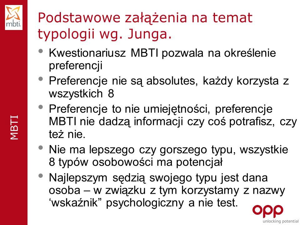 MBTI Podstawowe załążenia na temat typologii wg.Junga.