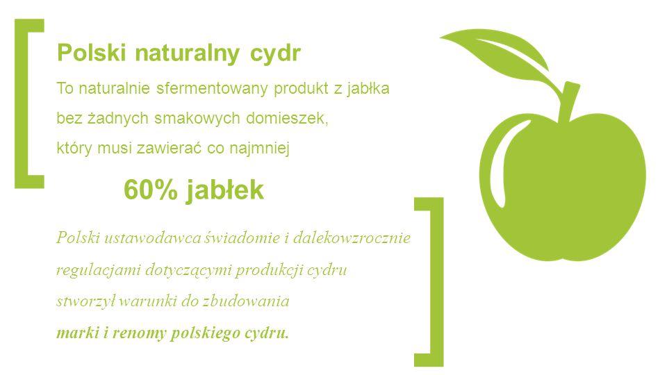 [ ] Polski naturalny cydr To naturalnie sfermentowany produkt z jabłka bez żadnych smakowych domieszek, który musi zawierać co najmniej 60% jabłek Pol