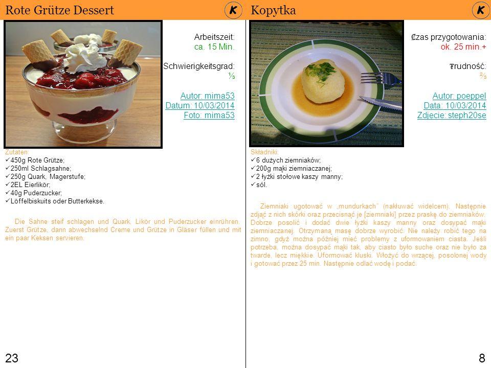 238 Rote Grütze Dessert Arbeitszeit: ca. 15 Min. Schwierigkeitsgrad: ⅓ Autor: mima53 Datum: 10/03/2014 Foto: mima53 Zutaten: 450g Rote Grütze; 250ml S