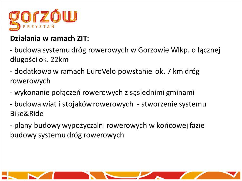 Działania w ramach ZIT: - budowa systemu dróg rowerowych w Gorzowie Wlkp. o łącznej długości ok. 22km - dodatkowo w ramach EuroVelo powstanie ok. 7 km