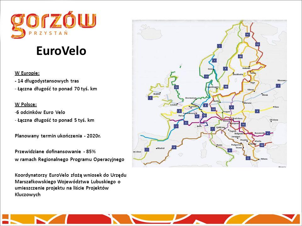 EuroVelo W Europie: - 14 długodystansowych tras - Łączna długość to ponad 70 tyś. km W Polsce: -6 odcinków Euro Velo - Łączna długość to ponad 5 tyś.