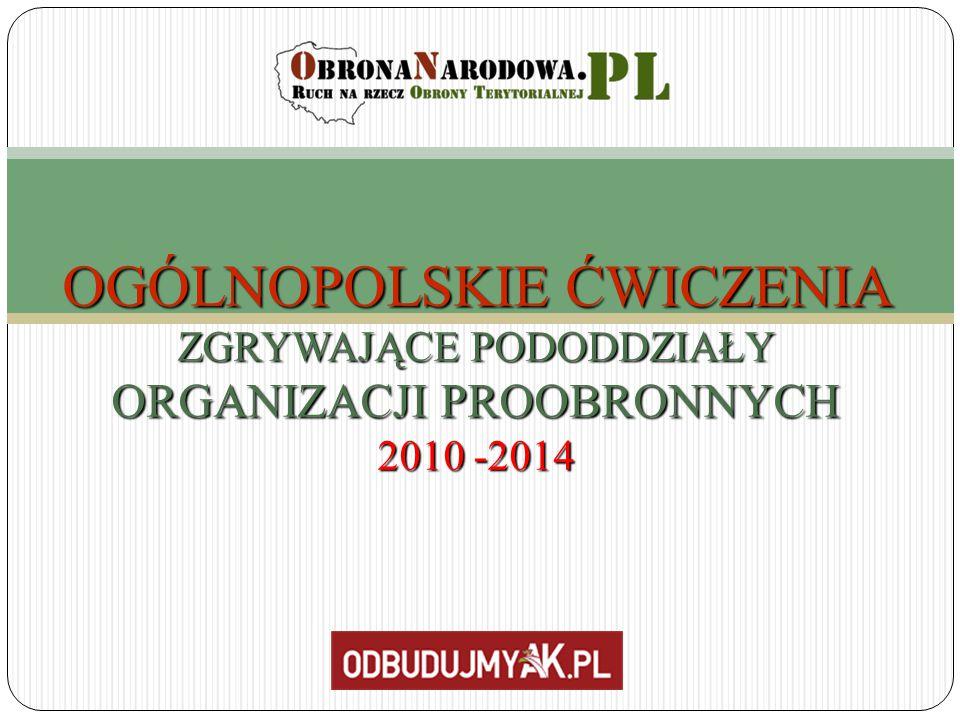 OGÓLNOPOLSKIE ĆWICZENIA ZGRYWAJĄCE PODODDZIAŁY ORGANIZACJI PROOBRONNYCH 2010 -2014