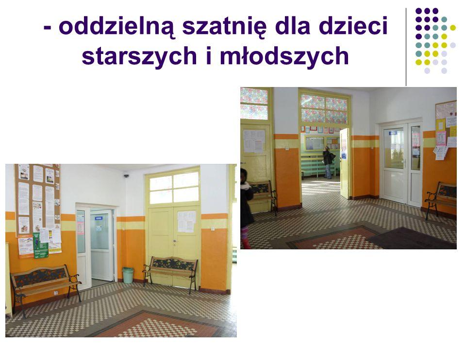 - oddzielną szatnię dla dzieci starszych i młodszych