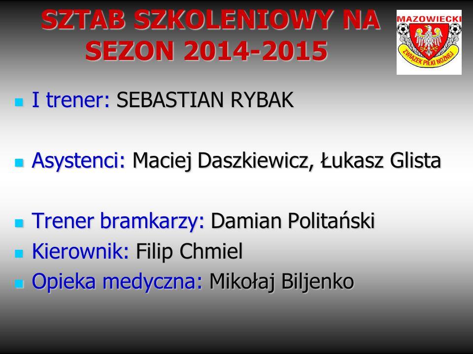 SZTAB SZKOLENIOWY NA SEZON 2014-2015 SZTAB SZKOLENIOWY NA SEZON 2014-2015 I trener: SEBASTIAN RYBAK I trener: SEBASTIAN RYBAK Asystenci: Maciej Daszki