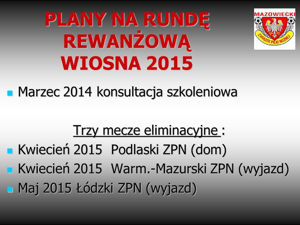 PLANY NA RUNDĘ REWANŻOWĄ WIOSNA 2015 Marzec 2014 konsultacja szkoleniowa Marzec 2014 konsultacja szkoleniowa Trzy mecze eliminacyjne : Kwiecień 2015 P