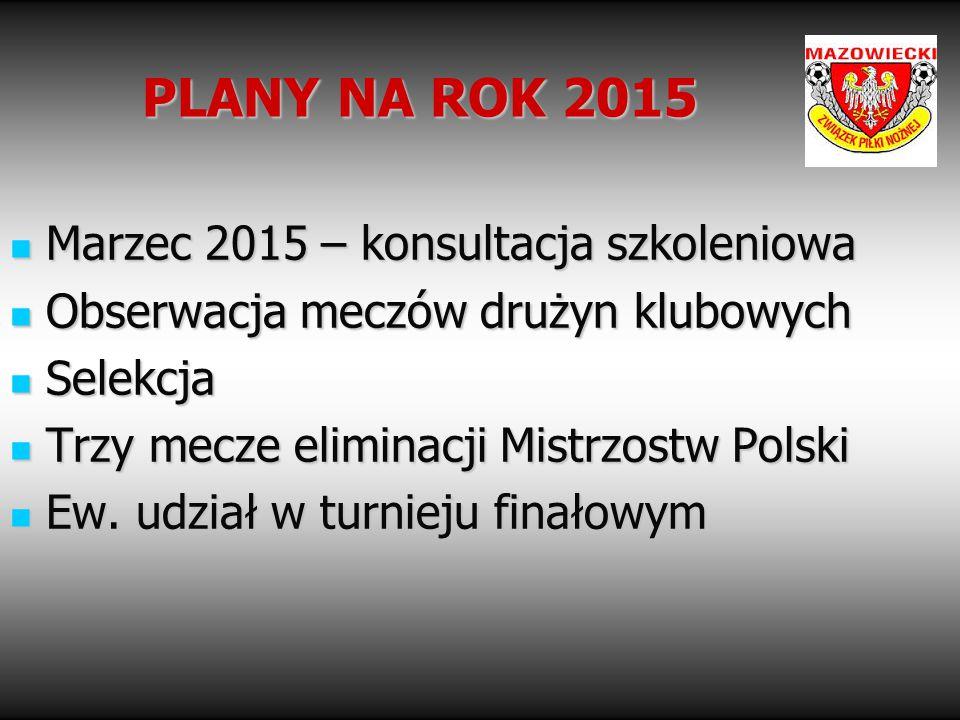 PLANY NA ROK 2015 Marzec 2015 – konsultacja szkoleniowa Marzec 2015 – konsultacja szkoleniowa Obserwacja meczów drużyn klubowych Obserwacja meczów dru