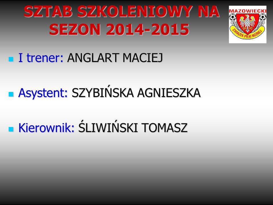 SZTAB SZKOLENIOWY NA SEZON 2014-2015 SZTAB SZKOLENIOWY NA SEZON 2014-2015 I trener: ANGLART MACIEJ I trener: ANGLART MACIEJ Asystent: SZYBIŃSKA AGNIES